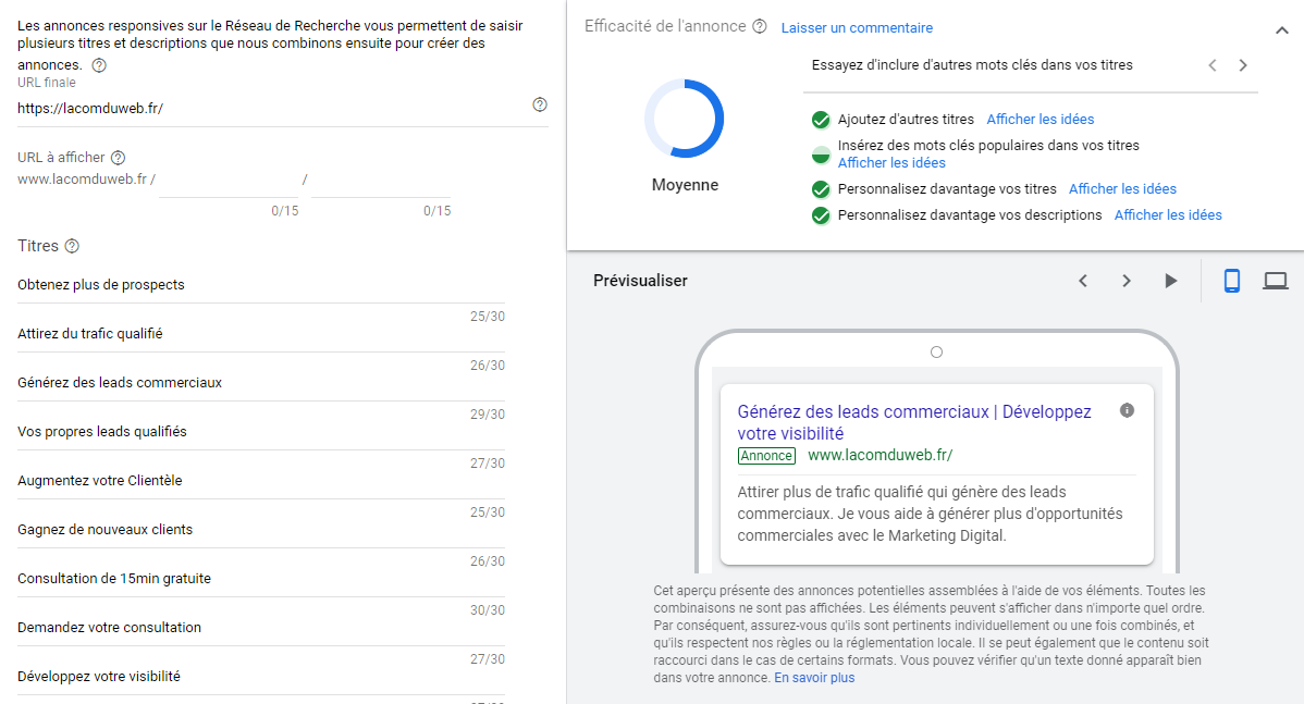 Google Ads - Annonce responsive