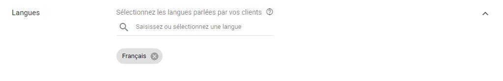 Google Ads - Ciblage par langue