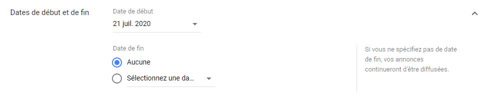 Google Ads - Date de début et de fin
