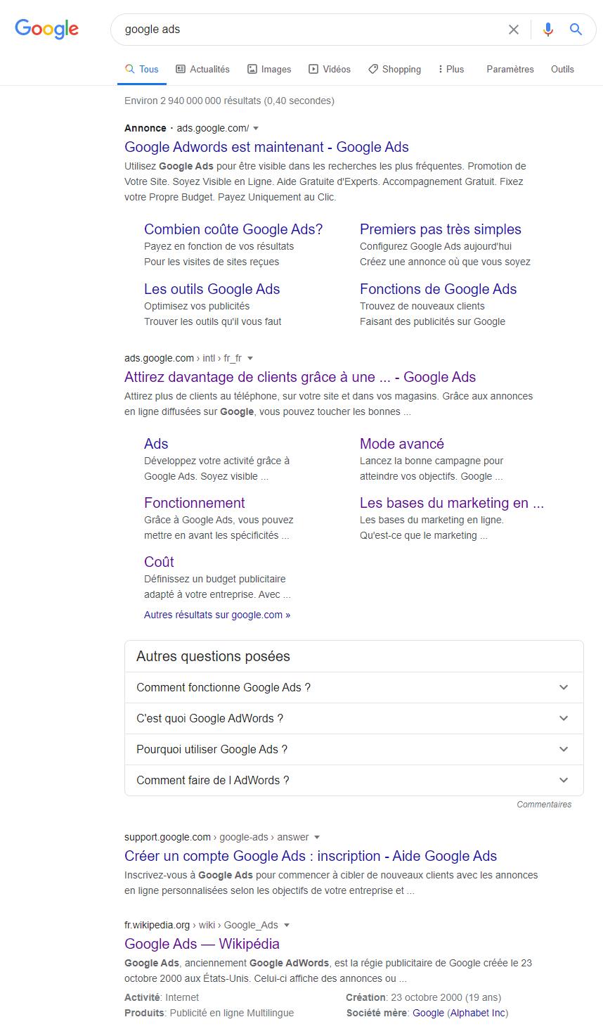 Résultats de recherche pour Google Ads